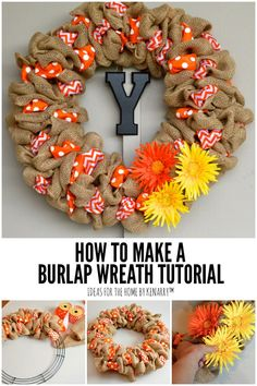 Learn how to make a DIY burlap wreath by weaving ribbons with rustic burlap in this easy step-by-step tutorial. You'll have a pretty wreath in just a few hours! You could have a custom wreath for the front door for fall, Christmas, or every holiday. Burlap Ribbon Wreaths, Easy Burlap Wreath, Burlap Wreath Tutorial, Easy Fall Wreaths, Fabric Wreath, Burlap Crafts, Wreath Crafts, Holiday Wreaths, How To Make Wreaths