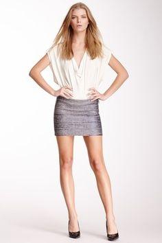 Bandage Glitter Foil Mini Skirt