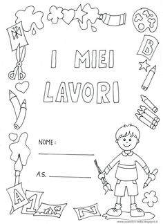 maestra Nella: copertine 'i miei lavori' bambino e bambina Art For Kids, Crafts For Kids, Body Preschool, Math Crafts, School Clipart, Title Page, Borders And Frames, Weird Art, School Hacks