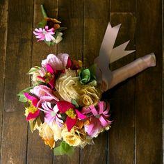 Alternative Floral Art - Alternative Wedding Bouquet - Wedding Bouquet - Fabric Flowers - Paper Flowers  www.hanawillowdesign.com