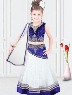 Demure White Net Designer Kids Wear Lehenga Choli