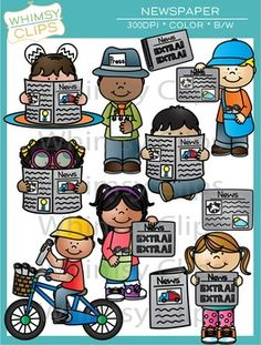 The newspaper clip art set contains 25 image files, which includes 11 color images and 14 black & white images. All images are 300dpi for better scaling and printing.