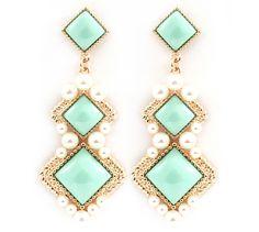 Claudia Chandelier Earrings in Mint