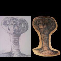 Moms E.T. drawing transformed into the perfect tattoo :-) Done by: Jason @ Webbworks Tattoo Studio, Naples, Fl