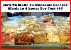 Freezer Cooking, Most helpful I've seen. 4 hours, 95 dollars, 46 freezer meals - awesome example of the benefits of freezer cooking! Crock Pot Freezer, Freezer Cooking, Bulk Cooking, Batch Cooking, Cooking Food, Microwave Freezer Meals, Hamburger Freezer Meals, Chest Freezer, Bulk Food