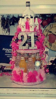 Alcohol Cake for 21st birthday girl.