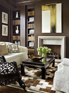 Dark brown living room walls and brown painted crown molding
