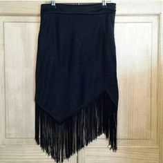 CLOSING MY CLOSET Super cute asymmetrical black skirt with fringe bottom. Charlotte Russe Skirts Midi