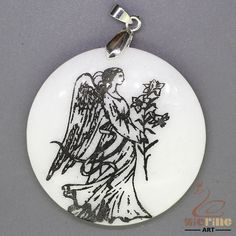 UNIQUE NECKLACE COLOR PAINTING ANGEL PENDANT WHITE GEMSTONE ZL7000443 #ZL #Pendant