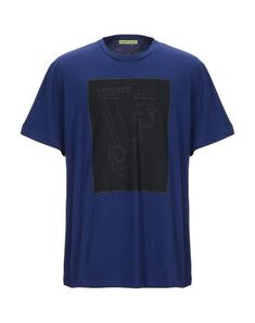 Versace Jeans T-shirt In Blue Versace Jeans T Shirt, Round Collar, Short Sleeves, Mens Tops, Blue, Shirts, Shopping, Clothes, Style
