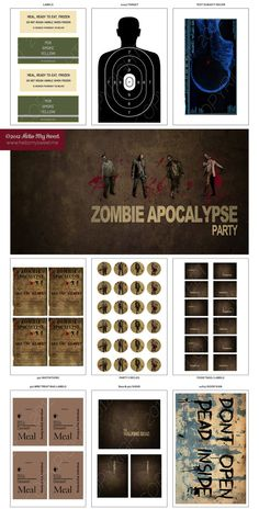 Walking Dead Party  Zombie Printable Party by HelloMySweet on Etsy, $35.00
