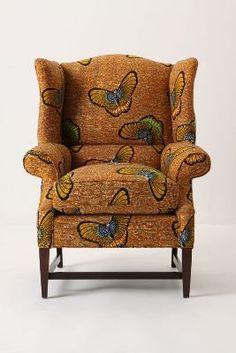 Josef Wingback Chair, Butterflies   Anthropologie.com