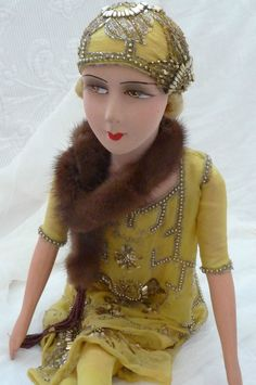 ANTIQUE FRENCH BOUDOIR DOLL.FLAPPER DOLL PARIS C.1920..FASHION DOLL.GATSBY