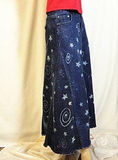Falda de Jean reciclado Galaxy hecha a la medida larga falda Faldas De  Jean 5c1c36cb6d3