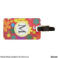 Flower Power on Red Luggage Tag