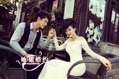 Encaje francés de manga larga cola de pez que arrastra el vestido de boda de Corea 2013 nuevo vestido de boda HS224 $80.77 dolares