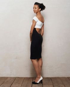 Bardot Off-Shoulder Bodycon Dress with Scoop Back Cut Out in Monochrome