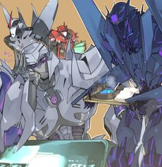 Soundwave always makes sure that Megatron eats his secret recipe energon soup when he's not feeling well.