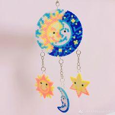 Sun and Moon Dream Catcher Hamma Beads 3d, Hamma Beads Ideas, Pearler Beads, Fuse Beads, Perler Bead Templates, Diy Perler Beads, Perler Bead Art, Melty Bead Patterns, Hama Beads Patterns
