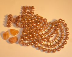Necklace Beaded Egyptian Style Golden Pink Glass by ZorilaneStone, $30.00