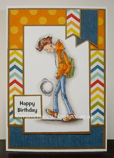 Hello Everyone, I have a card to share today using 'Oliver - Kicking About' from Lili of the Valley. I've coloured him with promarkers . Birthday Cards For Boys, Masculine Birthday Cards, Happy Birthday Cards, Masculine Cards, Boy Cards, Pop Up Cards, Kids Cards, Men's Cards, Beautiful Handmade Cards