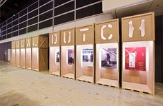 I like the reverse type of the letters cut out of the box and tests the light show through to make the text have a glow appearance. Exhibition Display, Exhibition Space, Stand Design, Booth Design, Design Museum, Exhibit Design, Atlantis, Space Gallery, Environmental Graphics