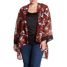 ec57638a9ad Want  amp  Need Print Kimono (Plus Size) ( 30) ❤ liked on