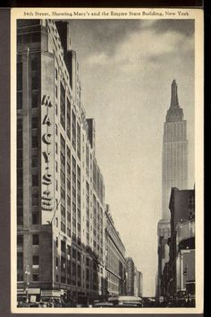 postcard macy's new york, empire state building