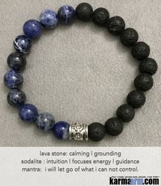 Yoga Beaded Bracelets. Black Lave Blue Sodalite.  I Law of Attraction | #LOA | Beaded & Charm Yoga Mala I Meditation & Mantra I Yoga Spiritual.