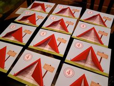 My sister made these invitations for my niece's camping theme birthday party. The red triangle is a tent and you open the flaps to read th...