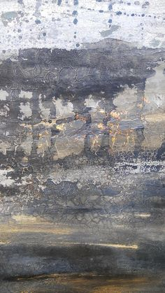 Modern Abstract Landscape 24 x 30 Gold Leaf Textured Canvas