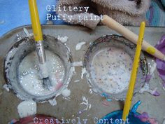 DIY glittery puffy paint. Let the kids enjoy using what you have in your kitchen to make their own paint...plus this is a perfect place to use glitter. :)
