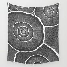 Fungi of Grey Wall Tapestry
