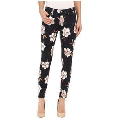 7 For All Mankind The Ankle Skinny with Contour WB in Calypso Floral... ($199) ❤ liked on Polyvore featuring jeans, flower print skinny jeans, white jeans, cropped skinny jeans, skinny fit jeans and slim skinny jeans