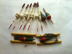 11 OLD ANTIQUE, VINTAGE,  WOODEN FISHING FLOATS OR BOBBERS,