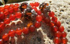 Carnelian Mala  Prayer Beads  Buddhist  Rosary  red by LotusJewels