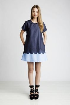 marimekko. Would make a darling little girl dress too.. love the scallop (via MerMag)