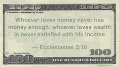 Ecclesiastes 5:10 Money Quotation saying the emptiness of money becomes clear when it is the entirety of our efforts