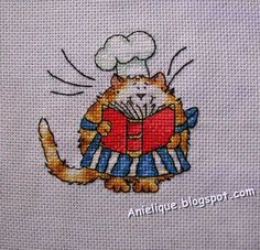 chef cat, cooking, cookbook, cross stitch