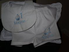 Mini Cupcake First Birthday White Cotton  Bib With Personaized White Boxers by Zadabug on Etsy