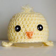 Charlie Chick yellow beanie newborn crochet hat by thesugarshop, $24.00