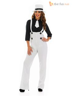 Ladies Pinstripe Gangster Suit Costume Fancy Dress Up 1920s 30s Womens Outfit  sc 1 st  Pinterest & great suspender/ corset look 4109-Gangsta-Mama-Costume-large.jpg ...