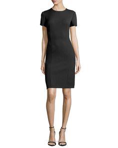 Short-Sleeve Sheath Dress, Black, Size: 50 (14 US) - Agnona