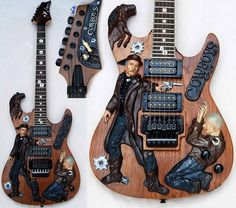 Antonio Tsai (Tony) is a famous Taiwanese inlay artist and luthier who made some strange looking guitars. He made some weird electric guitars but his inlay work is very nice and cool! Custom Electric Guitars, Custom Guitars, Old Musical Instruments, Bass, Rare Guitars, Guitar Painting, Guitar Collection, Rockn Roll, Guitar Design