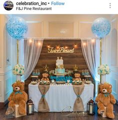 Baby Shower - Twice Blessed rustic Teddy bear (scheduled via www.- Baby Shower - Twice Blessed rustic Teddy bear (scheduled via www. Idee Baby Shower, Shower Bebe, Baby Shower Backdrop, Boy Baby Shower Themes, Baby Boy Shower, Baby Shower Table Set Up, Shower Party, Baby Shower Parties, Teddy Bear Baby Shower