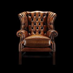 Chesterfield armchair / wool / leather / wing SAMUAL JOHNSON Fleming & Howland