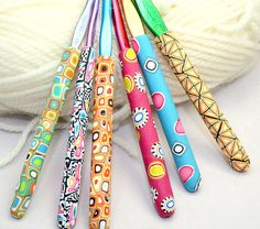 Polymer clay crochet hook Susan Bates new by rivervalleydesign