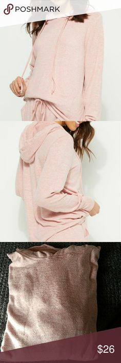 Soft Pink Hacci Knit Hoodie with Kangaroo Pocket You'll never want to take off this super soft hoodie.  Made with a hacci knit, you're going to want to wear this everyday!  Drawstring hood.  Kangaroo Pocket.   52% polyester,  48% rayon  Machine washable.  Model wears small.  Brand new, never worn, with tags.   No trades.   Please make any offer you would like using the offer button below thank you 💖 True by Rue21 Sweaters