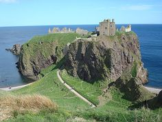 Dunnottar Castle is a ruined medieval fortress located upon a rocky headland on the north-east coast of Scotland, about 3 kilometres south of Stonehaven.