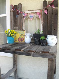 potting bench made with an old window and fence boards!